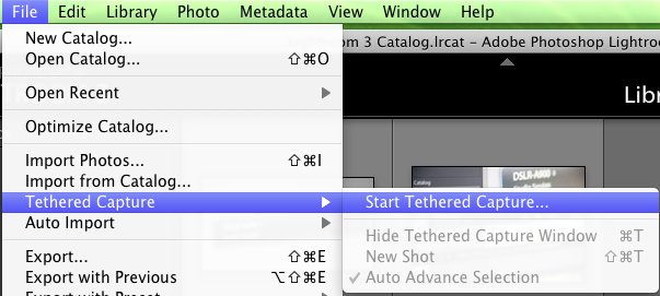 Tethered capture menu
